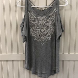 Women's Eyeshadow open shoulder Grey Tee Sz XS